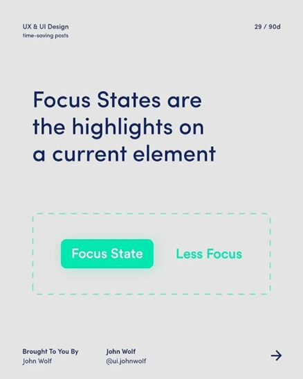 focus states are the highlights on current element
